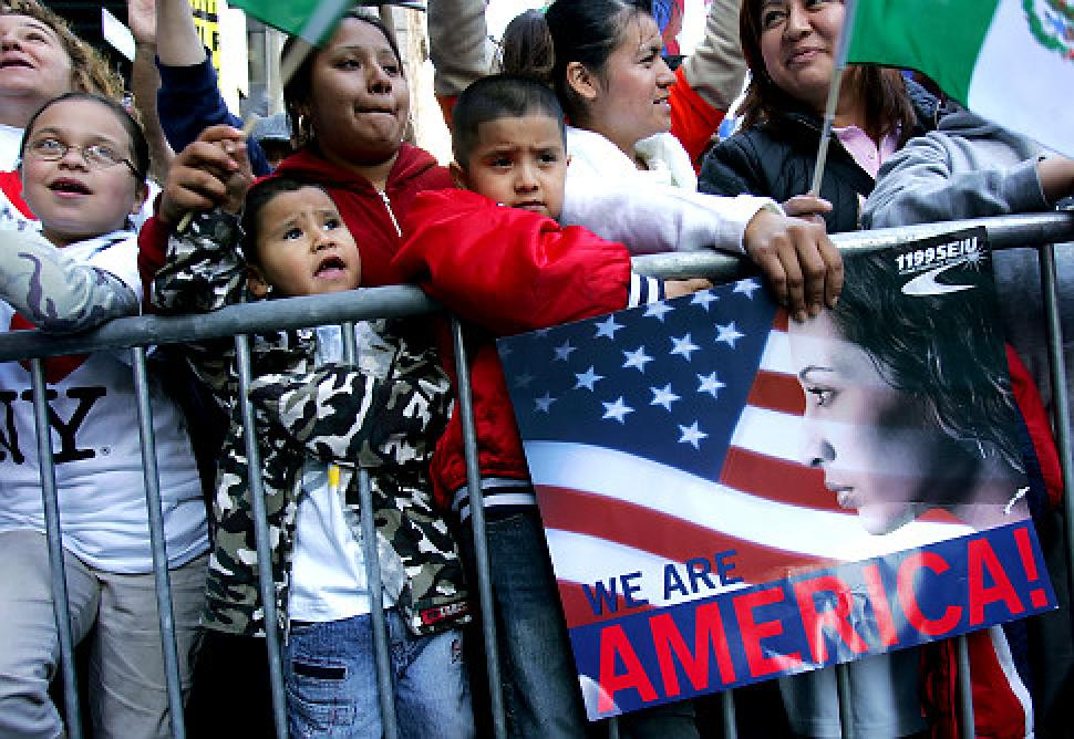 Children at City Hall Park during a massive rally in support of immigrants rights.